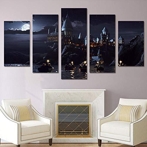 Afeige Leinwand Malerei Poster Wand Art Deco 5 Stück Harry Potter Schule Schloss Hogwarts Modulare Bilder Für Wohnzimmer K Zimmer Schlafzimmer Küche Hd Dekorative Leinwand-Einschließlich Rahmen