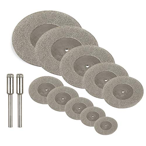 Yakamoz 10Pcs Assorted Small Diamond Cutting Wheel with Mandrel Cutoff Disc Blades Rotary Cutter Tool Kit for Metal Stone Tile, 16mm - 60mm Cutting Dia.