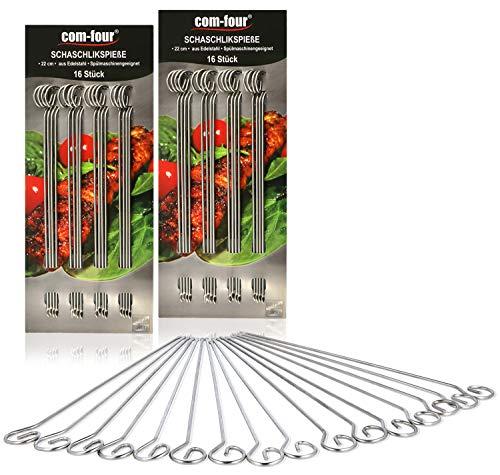 com-four® 32x Schaschlikspieße aus Edelstahl - 22 cm Lange Fleischspieße - Premium Gemüsespieße im Set (32 Stück)