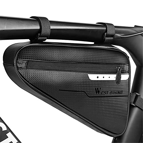 Impermeable Bolsa Triangular De Bicicleta, Gran Capacidad Bolsa Para Cuadro De Bicicleta Con Cinta Reflectante Fácil De Instalar Bolsa Bicicleta Tubo Frontal Para Mini Herramienta De Reparacion
