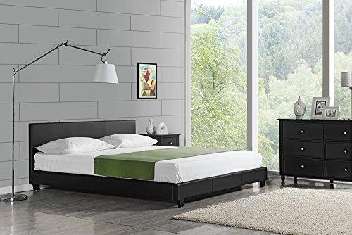 Corium Polsterbett Barcelona 140x200cm Kunst Leder Kunstlederbezug Doppelbett Bett mit Stecklattenrost Schwarz