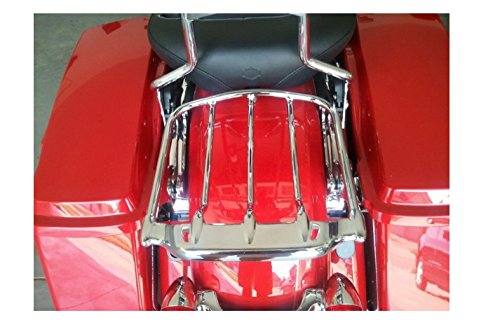 HTTMT MT502-005- Chrome Two-UP Air Wing Luggage Rack Mounting Compatible with Harley Davidson Touring