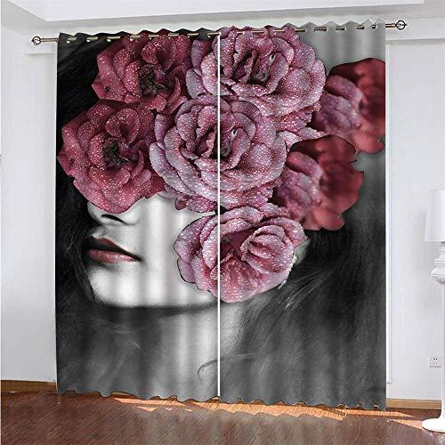 YUNSW Persönlichkeit Kunst 3D Digitaldruck Polyester Mit Augenvorhängen Wohnzimmer Balkon Schlafzimmer Fenster Dekoration Verdunkelungsvorhänge 2-teiliges Set