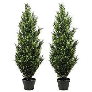 THE BLOOM TIMES 2 Pack 4 Foot Topiary Trees Artificial Outdoor Cedar Pine Fake Trees Potted UV Rated for Front Porch Faux Plants Indoor Decor 4ft