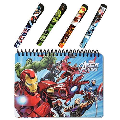 Avengers Autograph Book for Universal Studios and 4 Superhero Pens- Marvel Avengers Spiral Notebook, Hard Back, Iron Man, Captain America, Thor, Hulk and Black Widow Accessories