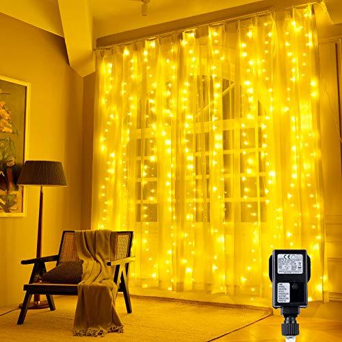 Hezbjiti 300 LEDs Cortina de Luces 3m x 3m, Resistente al Agua, 8 Modos de Luz, decoración de...