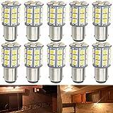 DEFVNSY - Paquete de 10 - Bombillas LED Blanco cálido 3000K 1142 BA15D 5050 27-SMD Lámparas para 12V Interior RV Camper Remolque Iluminación Barco Yard Luz Freno Bombillas traseras