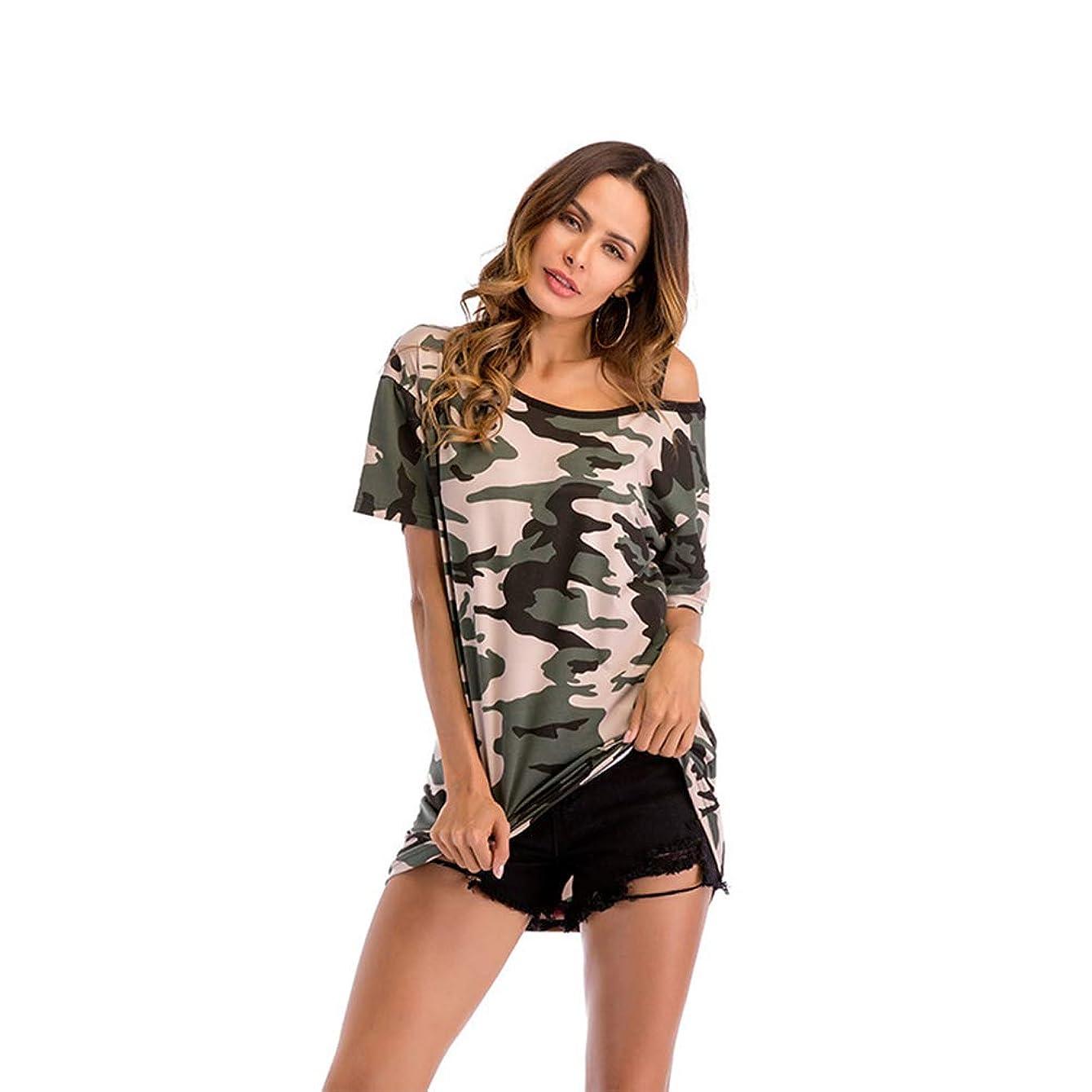ベットヤギピラミッド長袖の女性の半袖、迷彩プリントパターン、リラックスした快適な、スタイリッシュでシンプルな,L