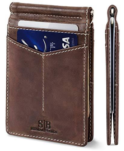 SERMAN BRANDS RFID Blocking Wallet Slim Bifold - Genuine Leather Minimalist Front Pocket Wallets for Men with Money Clip (Morning Roast Rogue)