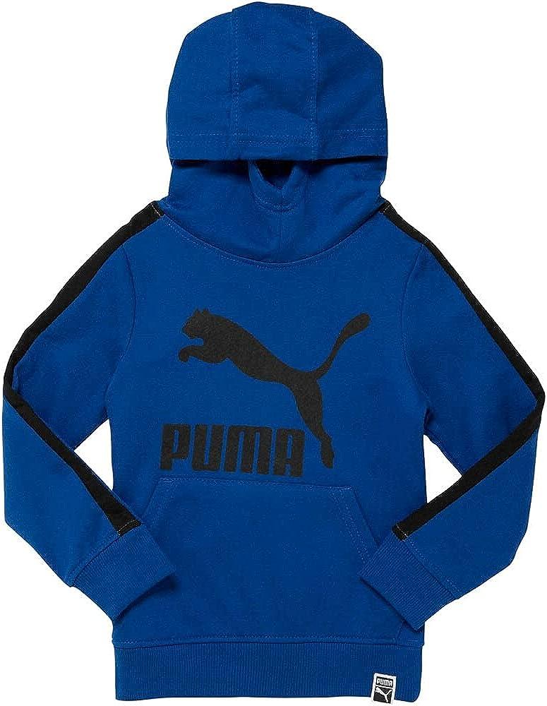 Puma Kids Boys Cotton Fleece T7 Hoodie Hoodie Drawstring - Blue