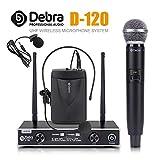 Debra auido PRO D-120 - Micrófono inalámbrico de doble canal con auriculares lavalier de mano para bodas, conferencias, karaoke, música, fiestas