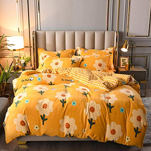 king size duvet cover sets-Flannel Crystal Velvet King Christmas Duvet Cover Single Double Bed Single Thickening Warm Reversible Bedding-C_2.0m bed (4 pieces)