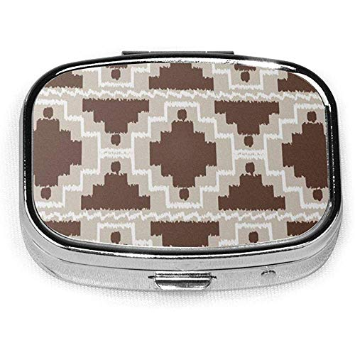 Ikat Aztec Tribal Chocolade Bruin en Taupe CustomSilver Square Pill Box Medicine Tablet Houder Portemonnee Organizer Case