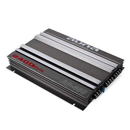 AUNA AB-450 Amplificatore 4 canali - Finale di potenza, 360 Watt RMS, 2400 Watt max, filtro basso regolabile, design racing, 35 x 5 x 25,5 cm (LxAxP), inclusi 2 x cavi di alto livello, nero