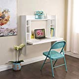 (US Stock) Wall Mounted Computer Desk, Kptoaz Wall Mount Table with Storage Shelves Multi-Function Floating Desk Space Saving Home Wall Mounted Table Laptop Workstation (White, one Size)