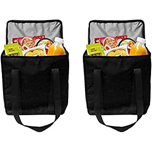 Earthwise Reusable Insulated Grocery Bags Heavy Duty Nylon Thermal Cooler Tote Waterproof In All Black W/ Zipper Closure Keeps Food Hot Or Cold (2 Pack):Hotviral