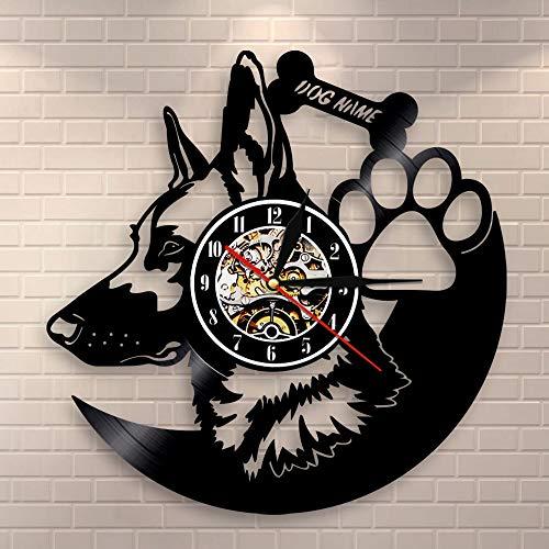 wtnhz LED Reloj de Pared de Vinilo Colorido Reloj de Pared de Pastor alemán, decoración del hogar, Razas de Perros, Disco de Vinilo, Reloj Vintage, Reloj de Pared con Nombre de Perro Personalizado