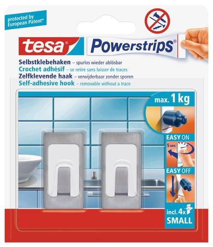 Tesa UK Ltd - Ganci in acciaio INOX levigato a forma rettangolare, con strisce autoadesive rimovibili, piccoli, confezione da 2 pezzi