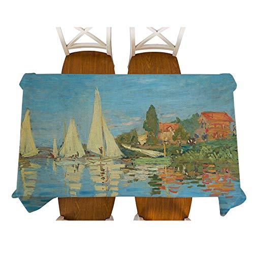 Mantel de lino impermeable para decoración de mesa de comedor, rectangular, tamaño A7, 150 x 210 cm