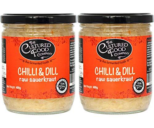 The Cultured Food Company Chili & Dill Sauerkraut Bio 2er Pack - Unpasteurisiertes Sauerkraut mit intensivem Aroma - Traditionell fermentiert mit lebendigen Kulturen - Bio, Roh, Vegan - 2 x 400g Glas