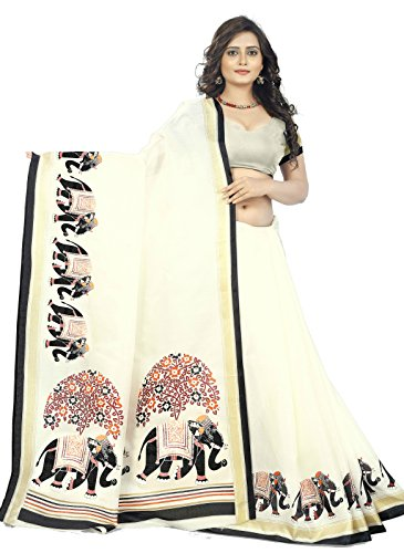 Jaanvi fashion Khadi Soie Elephant Kalamkari Imprimé Motifs Saree