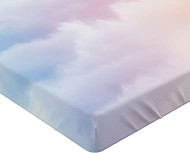 Lunarable Clouds Fitted Sheet, Fluffy Dreamy Gradient Faded Pastel Cloud Ethereal Fog Sublime Rainbow Featured Print, Soft De