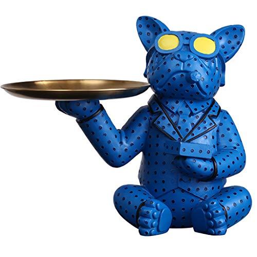 GAOYADS Bandeja De Valet De Resina, Llaves De Estilo De Perro Organizador, Bandeja De Joyas, Bandeja De Baratijas, Teclas De Caramelo con Monedas De Monedas Caja De Organizador (Color : Blue)