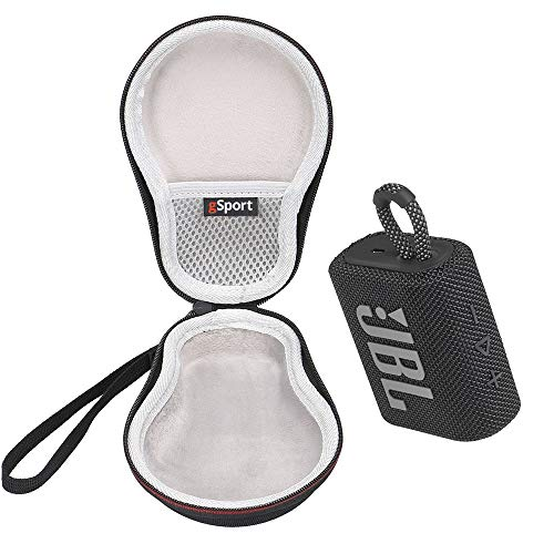 JBL GO 3 Waterproof Ultra Portable Bluetooth Speaker Bundle with gSport Deluxe Hardshell Case (Black)