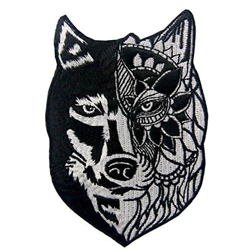Patch brodé en forme de Loup tribal de tournesol, à coudre ou à coller avec fer à repasser
