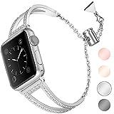 Aottom Kompatibel für Apple Watch Series 6 Armband 44mm Edelstahl Frauen Glitzer,Armband Apple...