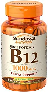 Sundown Naturals Vitamin B-12 High Potency 1000 Mcg, 60 Count