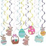 🐇Le nostre decorazioni pasquali a sospensione sono realizzate in resistente plastica PVC e riutilizzabili 🐇Il coniglio e gli elementi delle uova di Pasqua possono rendere divertente l'atmosfera pasquale 🐇 Set di decorazioni di Pasqua Include: 16 pezz...