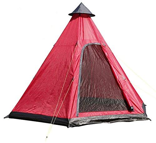 Spetebo Camping Zelt für 4 Personen - Pyramidenzelt in rot / 350 x 300 cm - Familienzelt Tipi Rundzelt
