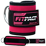 FITPACT Ankle Strap Cable Machine Pink Cuff Pulley Attachment Adjustable Velcro D Ring Gym Weight Lifting Leg...