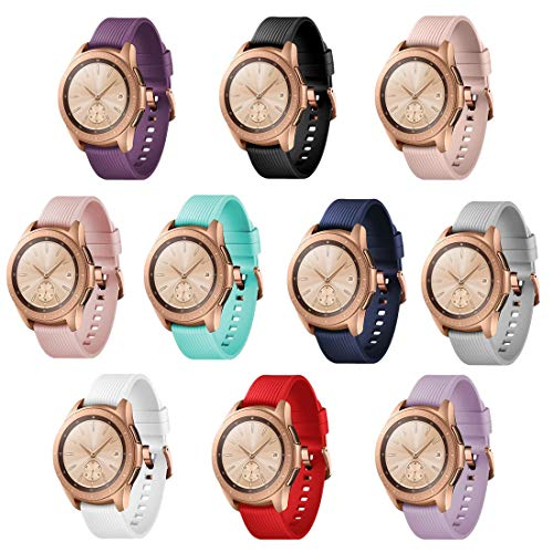 TECKMICO 10PCS Galaxy Watch bands,20mm Silicone Replacement Bands Compatible for Samsung Galaxy Watch 42mm with Rose Gold Watch Buckle,10 colors for women men gift (set of 10, Rose Gold Buckle)