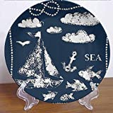 10' Navy Blue Decor Ceramic Tableware Plate Sea Themed Hand Print Style Grunge Elements Marine Underwater Yacht Cruise Collection Decor Accessory for Upscale Events, Dinner Parties, Weddings, Catering