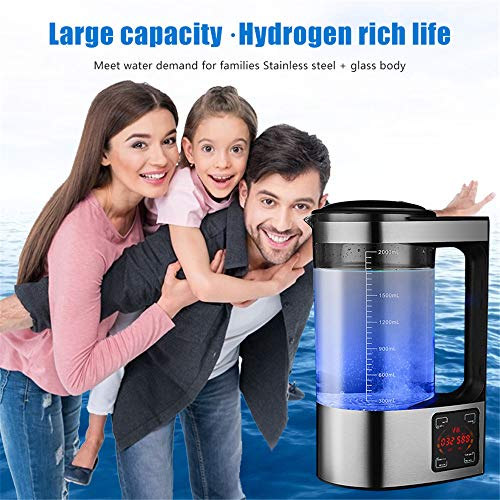 TOPQSC Wasserstoff Generator 2L LED-Anzeige Elektro Wasserstoff Wasser Lonisator Machen Flasche Gesunde Energie Cup Grosse Kapazität 2000ml hohe Konzentration Anti Aging Wasserstoff-Wassermacher
