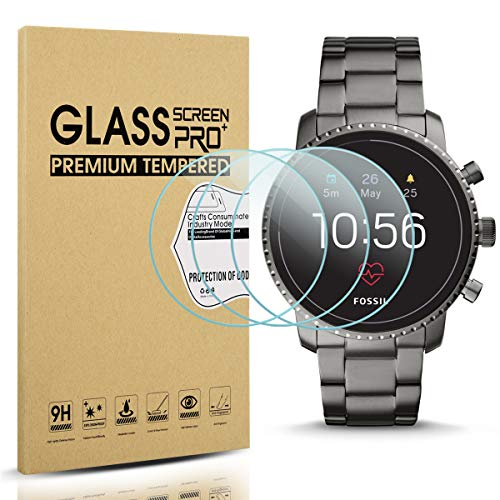 Diruite 3-Pack for Fossil Q Explorist HR Gen 4 Screen Protector Tempered Glass for Q Explorist HR Smartwatch [2.5D 9H Hardness][Anti-Scratch][Optimized Version]