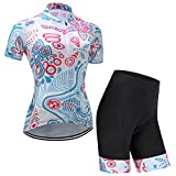GWELL Maillot Ciclismo Mujer Cclismo Conjunto de Ropa + Culote Pantalones Acolchado 3D para Bicicleta Verano Deportes al Aire Libre