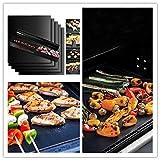 laoga 2/5 Piezas de Fibra de Vidrio Antiadherente BBQ Grill Mat Pad Sheet Set portátil Easy Clean High Temperature Bakeware Outdoor BBQ Accessories-2PCS_Copper