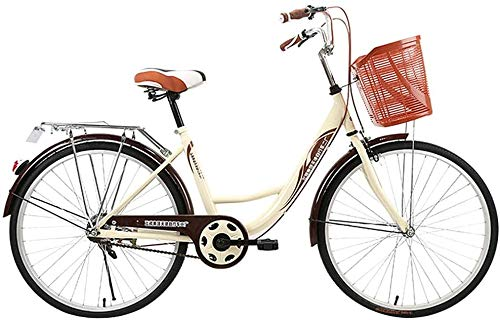 Vélo pour Femmes, 24 Pouces 6 Vitesses Shift Double Disc Freins City Light Cruiser Bike Commuter Retro Ladies Adult Beach Cruiser Bike avec Panier de Voiture (café)