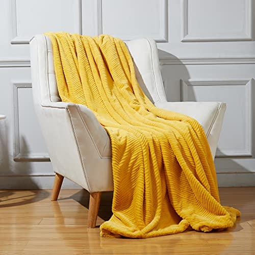 JULIYEH Manta de piel sintética de lujo, en zigzag, mullida, para sofá, 150 x 200 cm, color amarillo