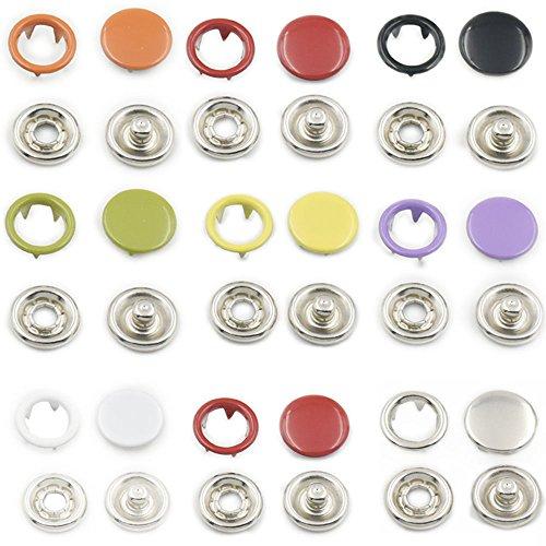 Offenen Ring No Sew Druckknöpfen Befestigungsschraube, 9,5 mm, 100 Stück, metall, multi, 9,5 mm