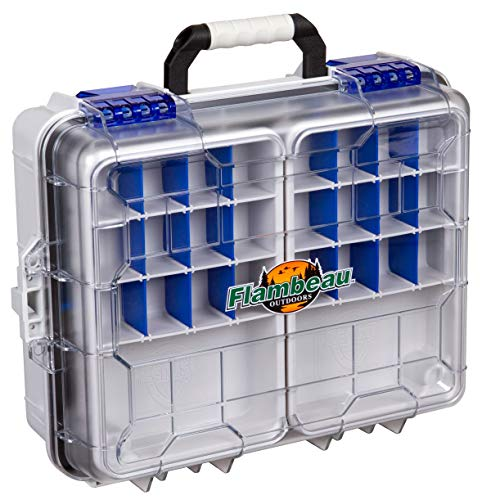 Flambeau Outdoors 3000WPNC Waterproof Satchel 3000, Portable Waterproof Tackle Box with Trays, Gray Clear