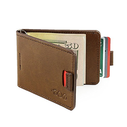 Agog Money Clip Wallet For Men – Ultra Slim Genuine Leather with Pull Tab Design – Holds Up to 10 Card Slots