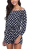 MISS MOLY Mujer Mono Jumpsuits Elegante Fuera del Hombro Bodysuit Verano Pantalones para Fiesta Playa Lunares Azul Marino X-Large
