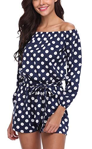 Miss Moly MISS MOLY Jumpsuit Damen Sommer Kurz Sexy Einteiler Polka Dots Playsuit Romper Gepunkte Blau Large