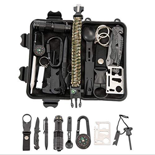 YANG WU Notfall-Rettungsset, professionelle Taktische Verteidigungsausrüstung für Überlebensgeräte im Freien, einschließlich Kompass, Taschenlampe, Camping, Wanderabenteuer
