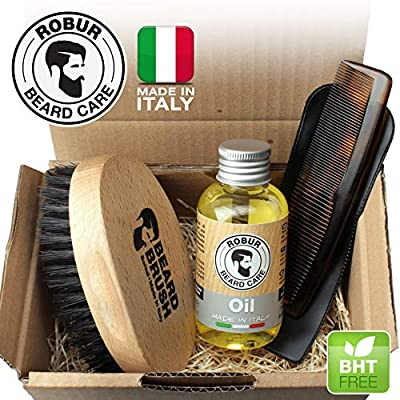 Set for beard care, moisturizing emollient oil 100 ml, brush and pocket comb. Beard set man. Brush + soap + comb. 100% made in Italy.