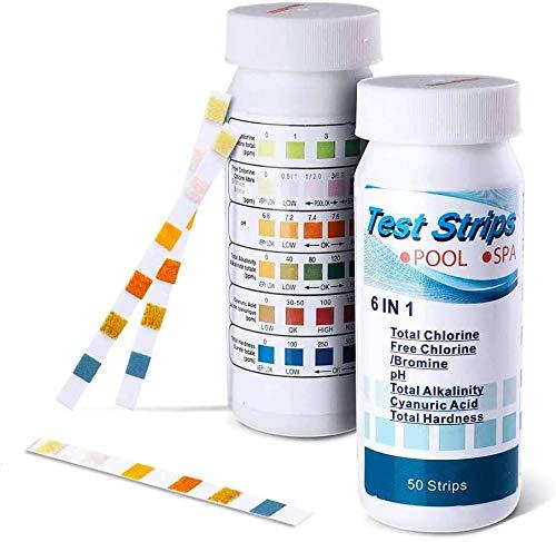 6-in-1-Wasserteststreifen, 50 Stück, Poolchemikalien-Teststreifen, Schnelltest für Schwimmbad, Whirlpool und Spa Testen von Chlor, Härte, Brom, Cyanursäure, Alkalinität und pH-Wert.